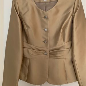 Cocktail Beige Suit with shiny bling buttons